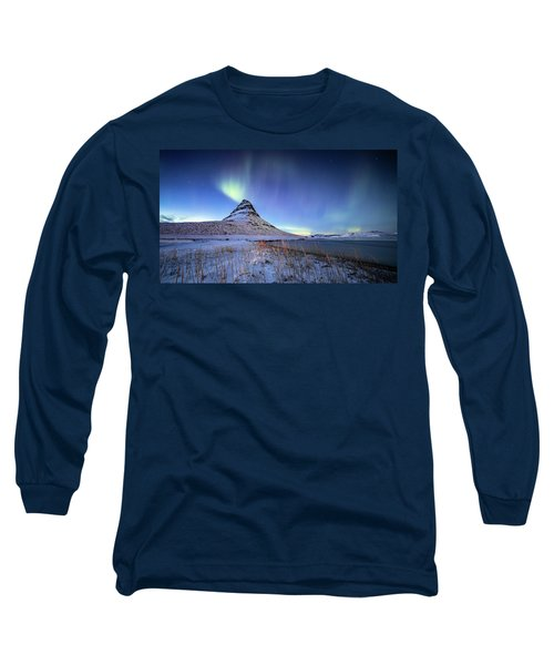 Northern Lights Atop Kirkjufell Iceland Long Sleeve T-Shirt