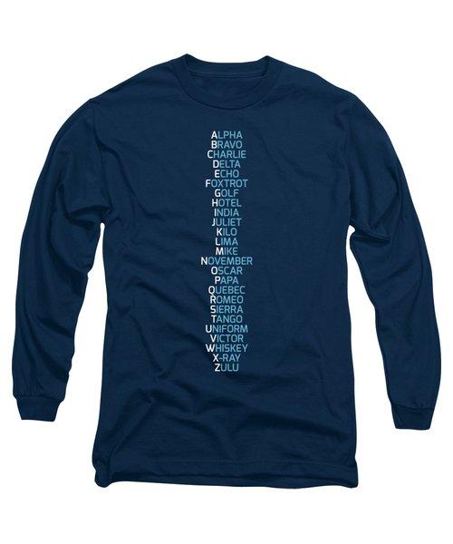 Phonetic Alphabet Navy Blue Long Sleeve T-Shirt