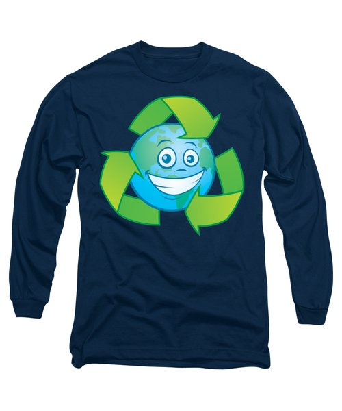 Planet Earth Recycle Cartoon Character Long Sleeve T-Shirt