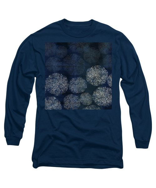 Shibori Sea Urchin Burst Pattern Dark Denim Long Sleeve T-Shirt