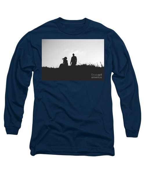 Silhouette Of Couple In Love With Wedding Couple On Top Of A Hil Long Sleeve T-Shirt