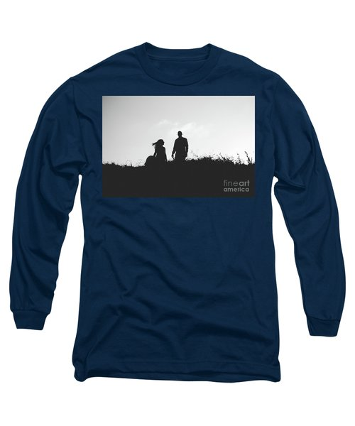 Silhouette Of Couple In Love With Wedding Couple On Top Of A Hill Long Sleeve T-Shirt