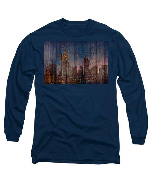Skyline Of Frankfurt, Germany On Wood Long Sleeve T-Shirt