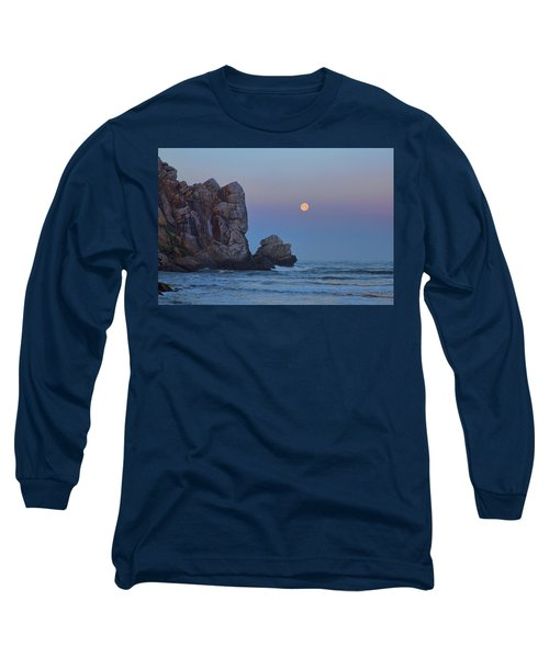 Snow Moon And Morro Rock Long Sleeve T-Shirt