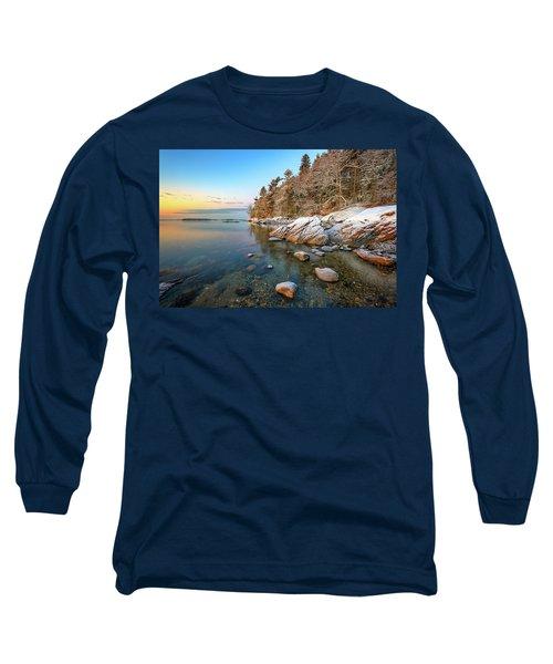 Snowy Shoreline In Wolfe's Neck Woods Long Sleeve T-Shirt