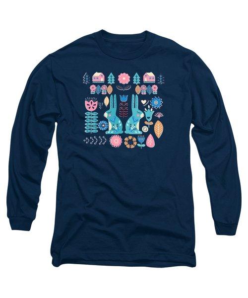 Soft And Sweet Scandinavian Bunny Rabbit Folk Art Long Sleeve T-Shirt