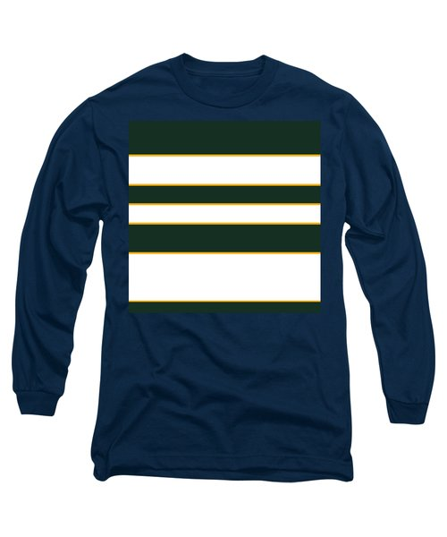 Stacked - Green, White And Yellow Long Sleeve T-Shirt