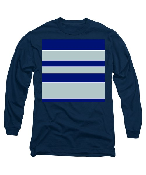 Stacked - Navy, Grey, And White Long Sleeve T-Shirt