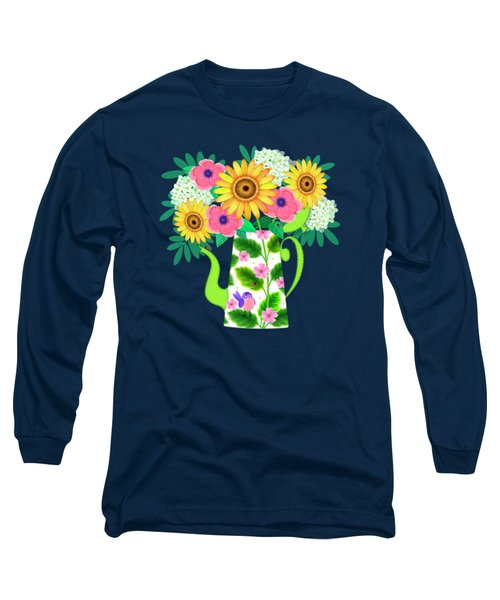 Summer Flowers In Coffee Pot Long Sleeve T-Shirt