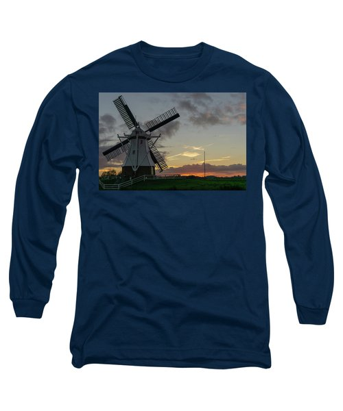 Long Sleeve T-Shirt featuring the photograph The White Mill by Anjo Ten Kate
