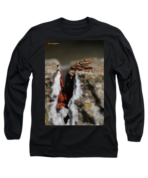 Long Sleeve T-Shirt featuring the photograph  A Lizard Emerging From Its Hole by Stwayne Keubrick