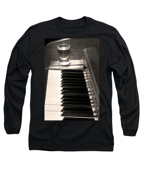 A Shot Of Bourbon Whiskey And The Bw Piano Ivory Keys In Sepia Long Sleeve T-Shirt