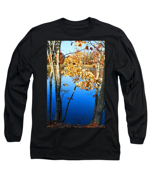 Autumn Trees On The Lake Long Sleeve T-Shirt by Lesa Fine