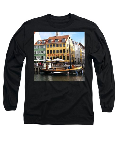 Boat In Nyhavn Long Sleeve T-Shirt by Richard Rosenshein