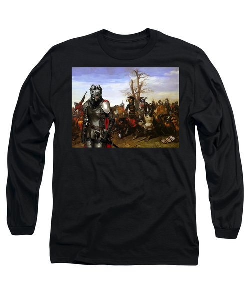 Cane Corso Art Canvas Print - Swords And Bravery Long Sleeve T-Shirt