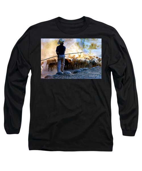 Long Sleeve T-Shirt featuring the photograph  Herder Going Home In Mexico by Phyllis Kaltenbach
