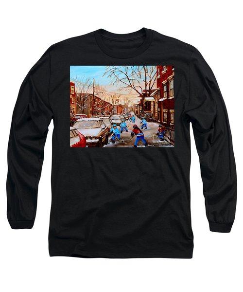 Hockey Art- Verdun Street Scene - Paintings Of Montreal Long Sleeve T-Shirt