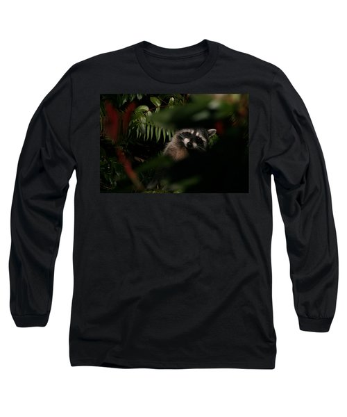 Long Sleeve T-Shirt featuring the photograph  I Can See You  Mr. Raccoon by Kym Backland
