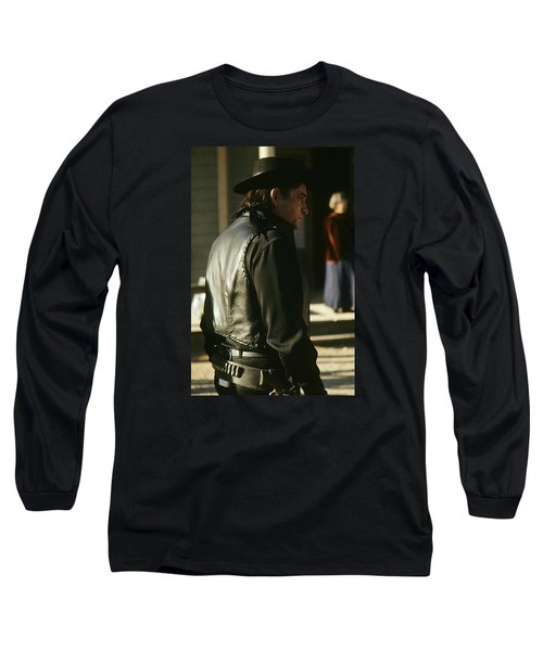 Long Sleeve T-Shirt featuring the photograph  Johnny Cash About To Draw On Kirk Douglas Old Tucson Arizona 1971 by David Lee Guss
