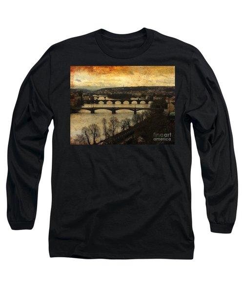 Vintage Prague Vltava River Long Sleeve T-Shirt