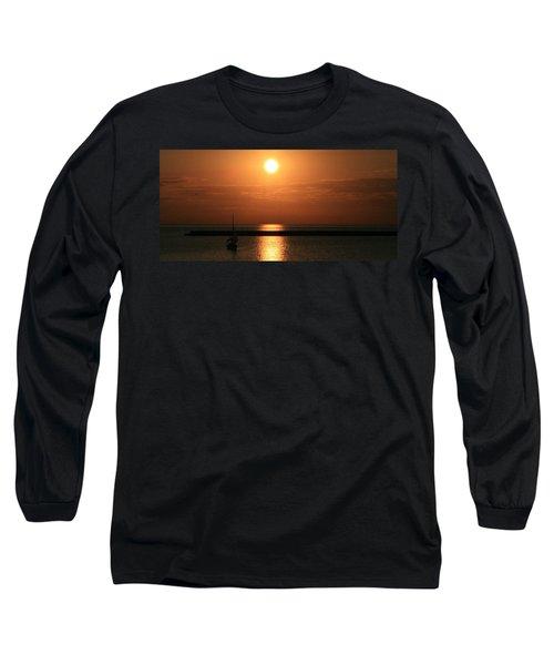Sailboat A Drift Long Sleeve T-Shirt by Kay Novy