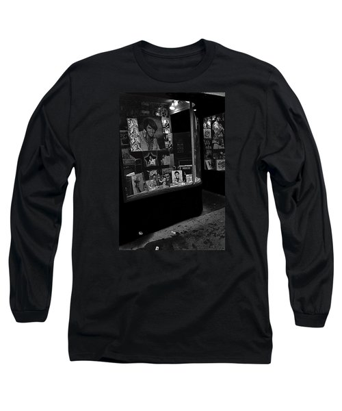 Long Sleeve T-Shirt featuring the photograph  Window Display Night Of Elvis Presley's Death Recordland Portland Maine  1977 by David Lee Guss
