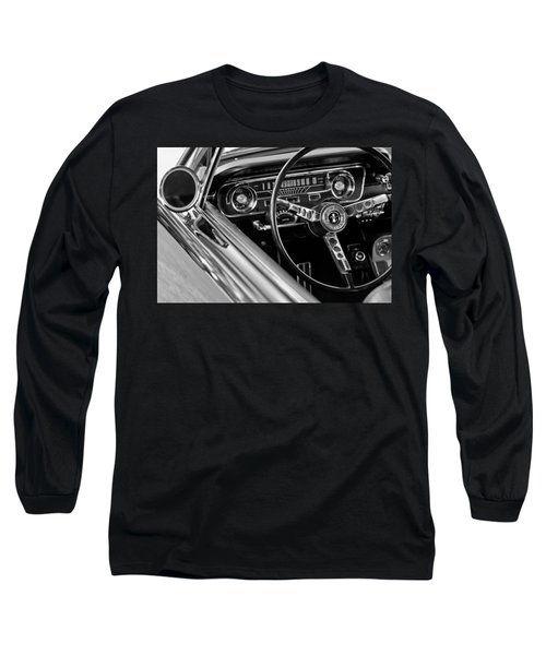 1965 Shelby Prototype Ford Mustang Steering Wheel Long Sleeve T-Shirt by Jill Reger