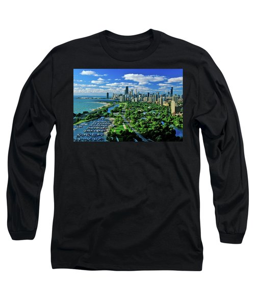 Aerial View Of Chicago, Illinois Long Sleeve T-Shirt