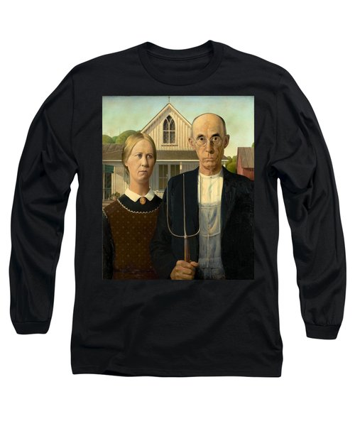 American Gothic Long Sleeve T-Shirt by Grant Wood