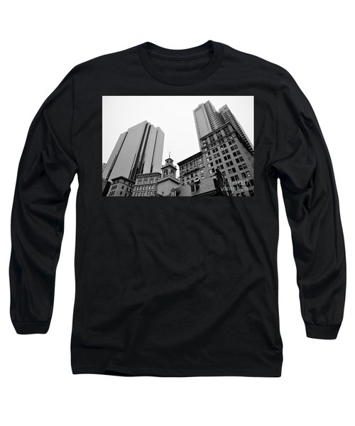 Boston Cityscape Black And White Long Sleeve T-Shirt
