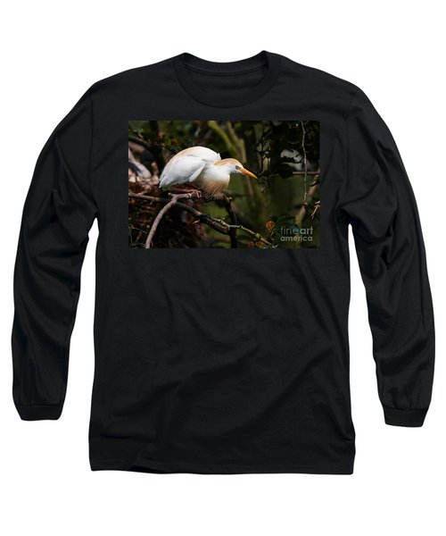 Cattle Egret In A Tree Long Sleeve T-Shirt