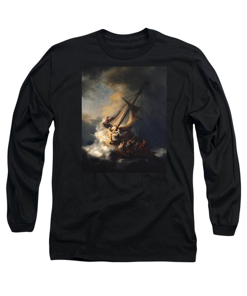 Christ In The Storm On The Sea Of Galilee Long Sleeve T-Shirt by Rembrandt Van Rijn