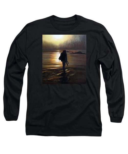Long Sleeve T-Shirt featuring the painting Crossing The River by Vesna Martinjak