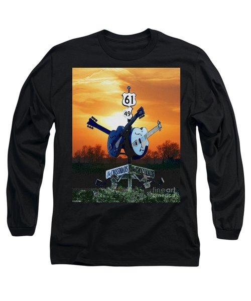 Crossroads Sunset  Blues Highway 61 Long Sleeve T-Shirt