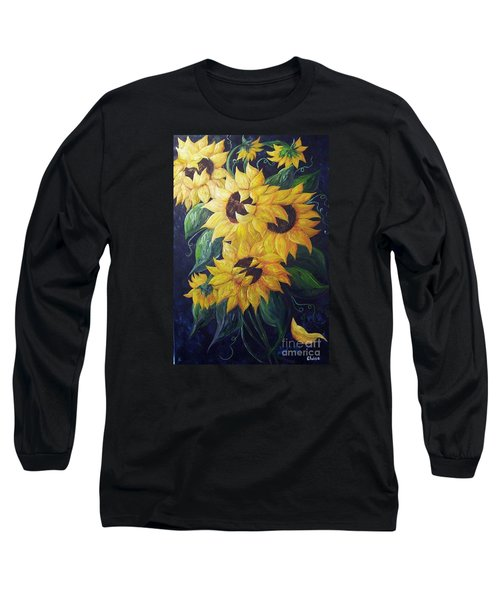 Long Sleeve T-Shirt featuring the painting Dancing Sunflowers  by Eloise Schneider