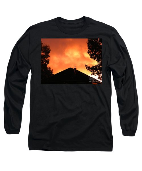 Long Sleeve T-Shirt featuring the photograph Fire In The Sky by Ann E Robson