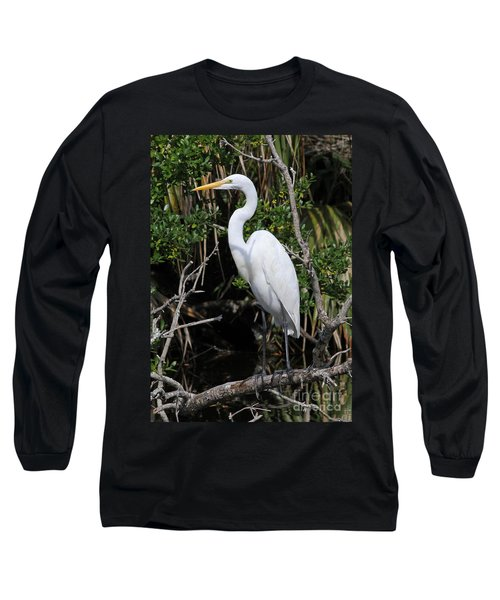 Great Egret Perched In Fallen Tree Long Sleeve T-Shirt