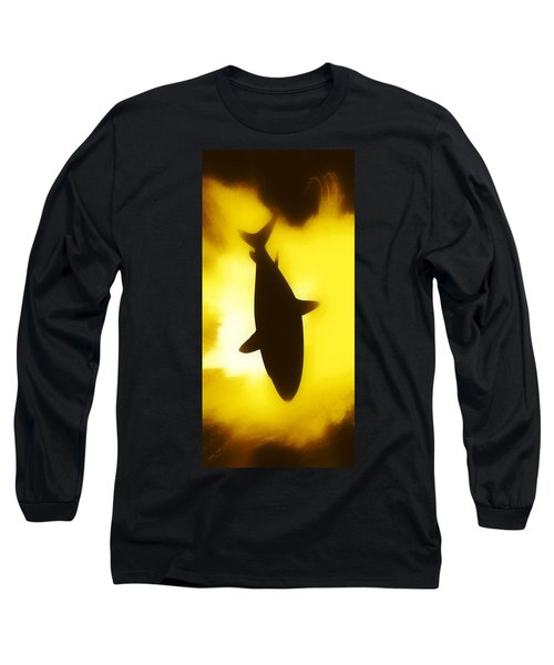 Blue Long Sleeve T-Shirt featuring the digital art Great White  by Aaron Berg