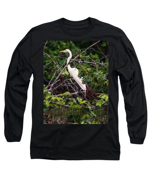 Great White Egret Long Sleeve T-Shirt by Chris Flees