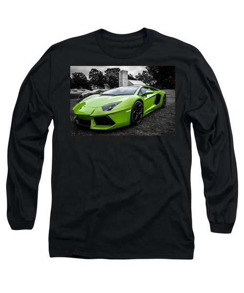 Green Aventador Long Sleeve T-Shirt by Matt Malloy