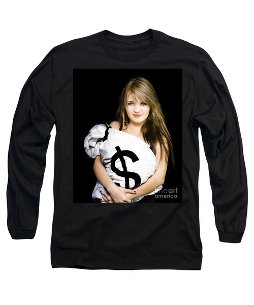 Happy Woman With A Bag Of American Dollar Bills Long Sleeve T-Shirt
