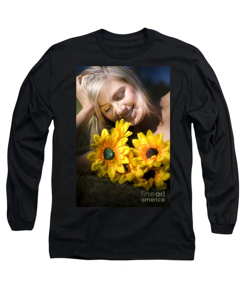 Happy Woman With Sunflowers Long Sleeve T-Shirt