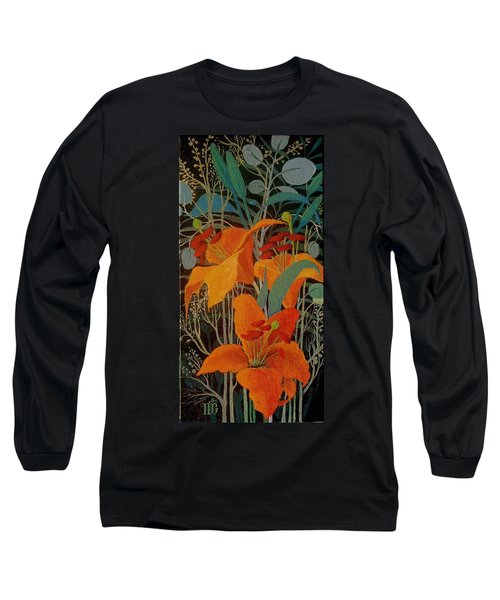 Long Sleeve T-Shirt featuring the painting Lilies by Marina Gnetetsky