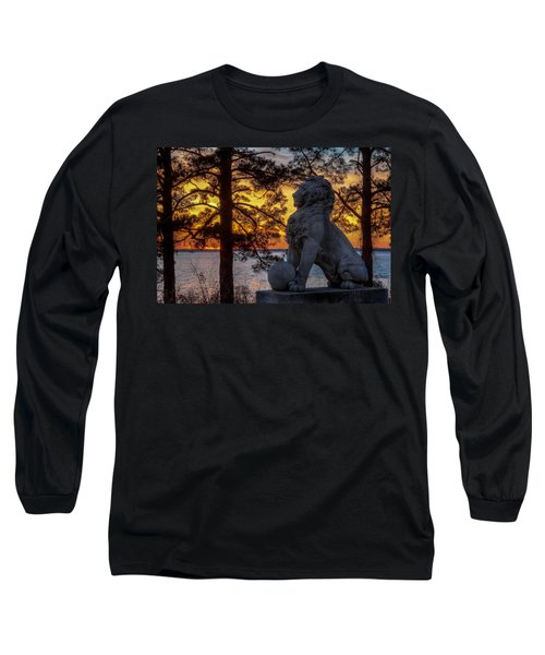 Lion At Sunset Long Sleeve T-Shirt by Jerry Gammon