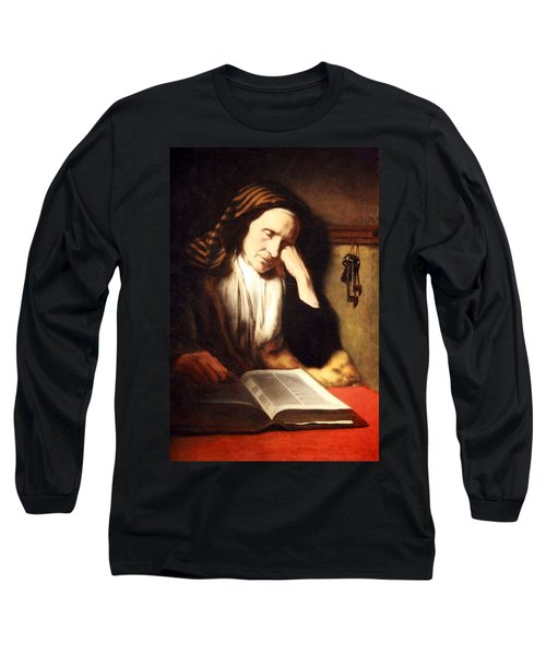 Mae's An Old Woman Dozing Over A Book Long Sleeve T-Shirt by Cora Wandel