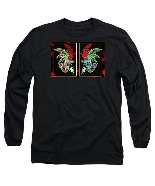 Mech Dragons Pastel Long Sleeve T-Shirt by Shawn Dall