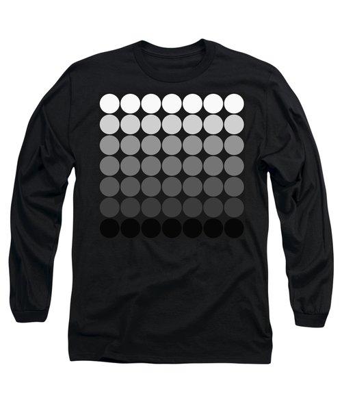 Mod Pop Gradient Circles Black And White Long Sleeve T-Shirt