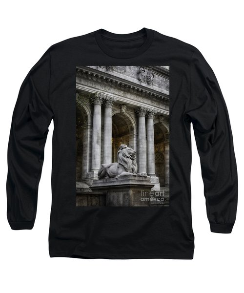 Ny Library Lion Long Sleeve T-Shirt by Jerry Fornarotto