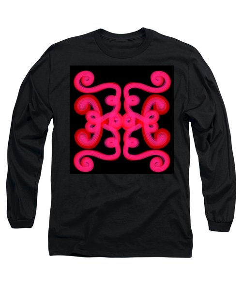 Long Sleeve T-Shirt featuring the digital art Pink Scroll by Christine Fournier