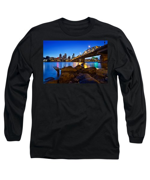 Long Sleeve T-Shirt featuring the photograph Portland Oregon Skyline At Blue Hour by JPLDesigns